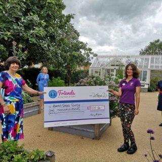 League of Friends present cheque in Horatio's Garden Midlands