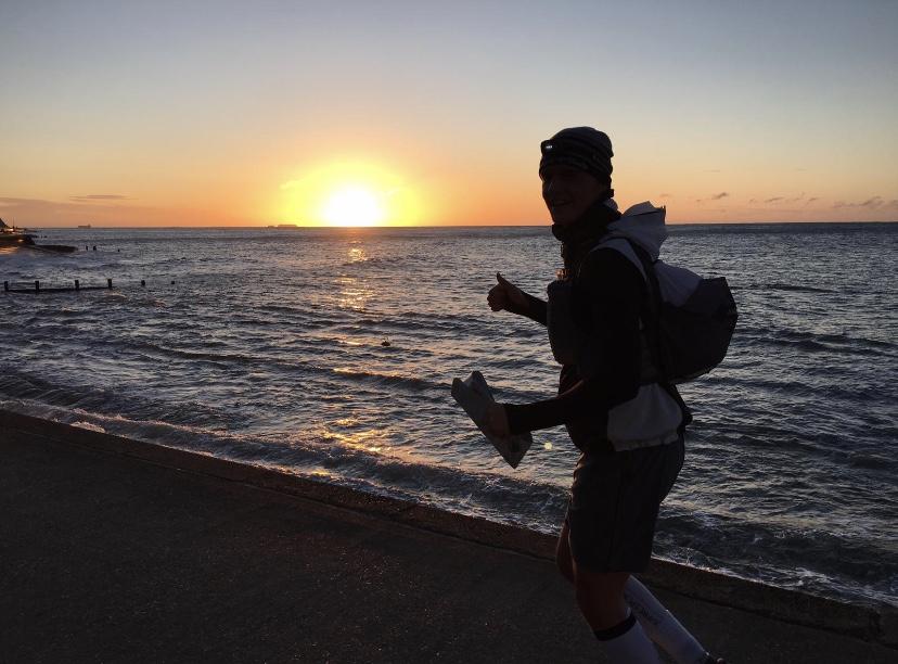 Jack running on beach